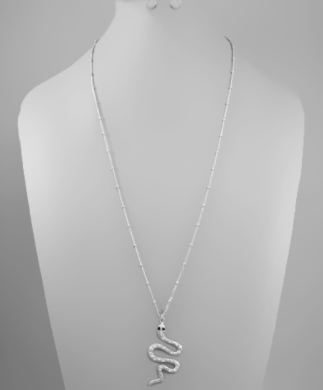 Crystal Pave Snake Necklace - Why Not Boutique
