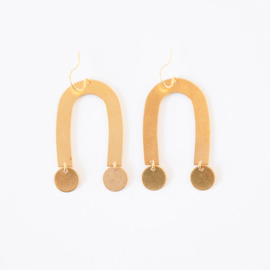 U-Shaped Brass and Circles Earrings