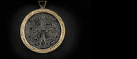 Greenman silver engraved carving pendant with yellow gold for homepage slider