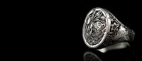 og:image, Hand engraved silver ring with lion and wolf for homepage slider