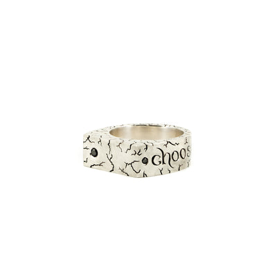 Silver heavy hand engraved ring with black diamonds and Choose Your Pain engraved around it