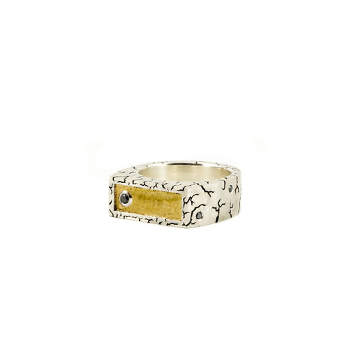 Silver, heavy, hand engraved ring with black diamonds and gold inlay