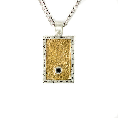 Silver hand engraved pendant with black diamonds and gold inlay on chain