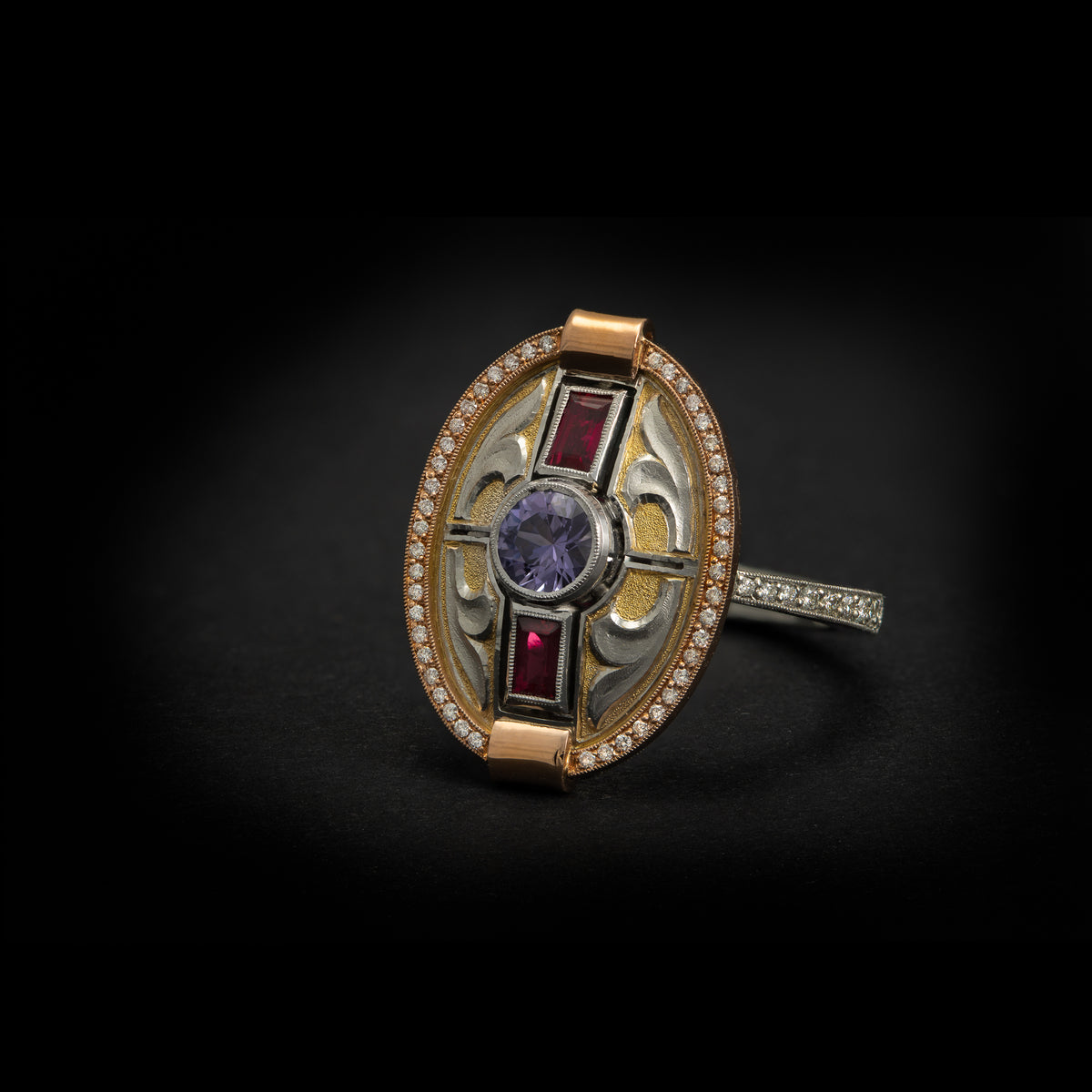 Purple Sapphire & Ruby Inlay ring