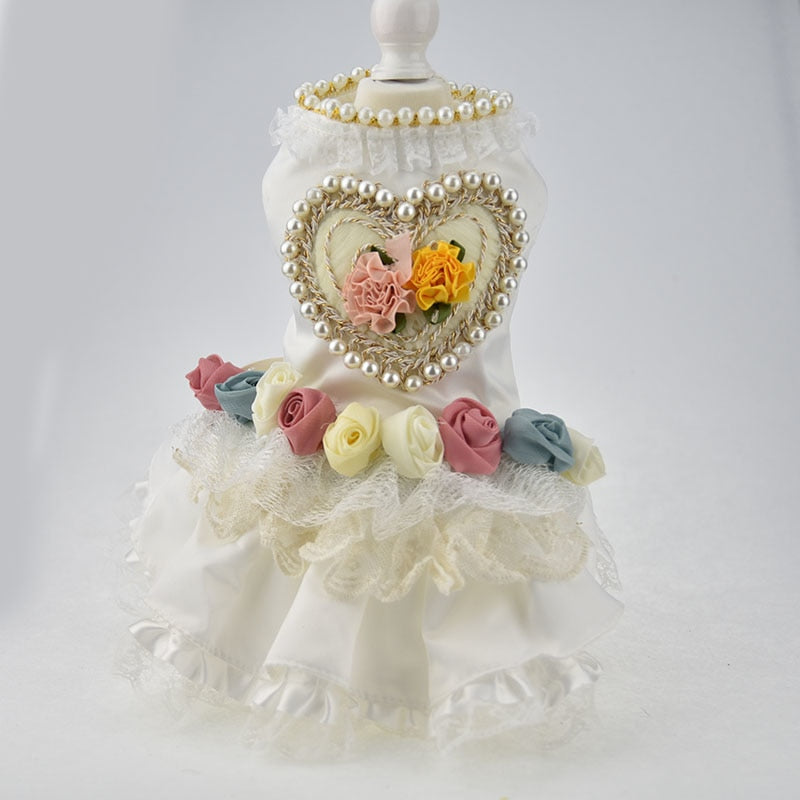 White Pearl Colorful Roses Pet Wedding Dress