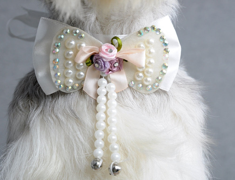 Fashionable Pearls Bowknot Pet Collar / Necklace