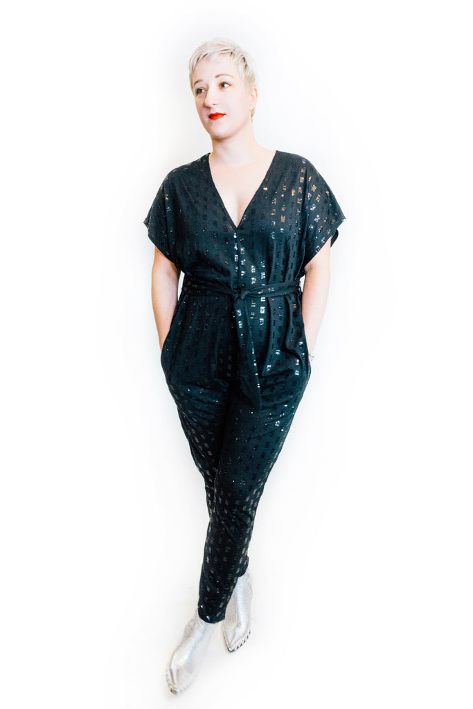 Flux Jumpsuit in Sequin Knit