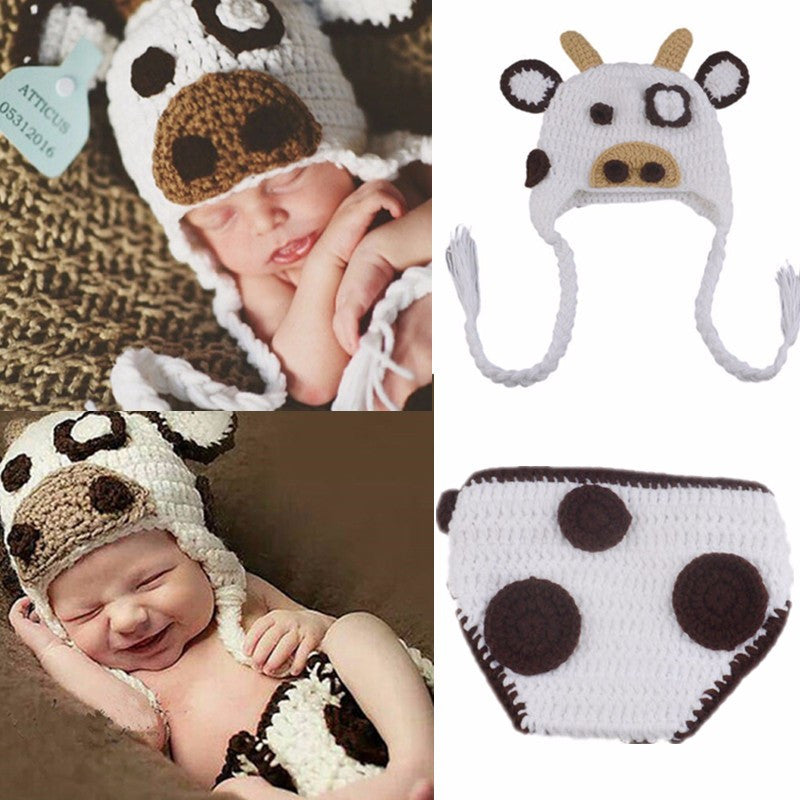 abe86980bba Cute Infant Party Dress Conjoined Cap Handmade Crochet Penguin Photography  Costume Hat Pants Set Baby Suit