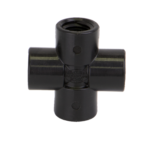 "CR025, 1/4"" POLY PIPE CROSS"