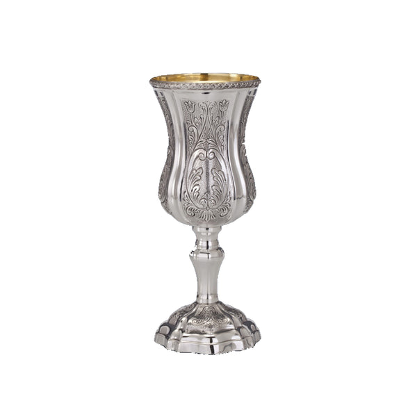 Bellagio Decorated Silver Kiddush Cup with Stem