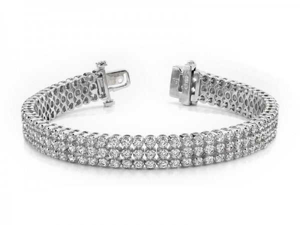 White Gold 3 Row Diamond Tennis Bracelet
