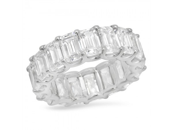 White Gold Emerald Cut Diamond Eternity Band