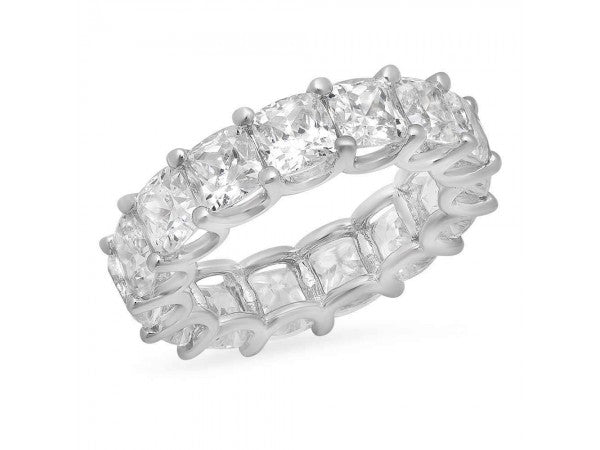 White Gold Cushion Cut Diamond Eternity Band