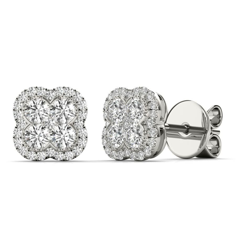 White Gold Round Cut Diamond Floral Earrings