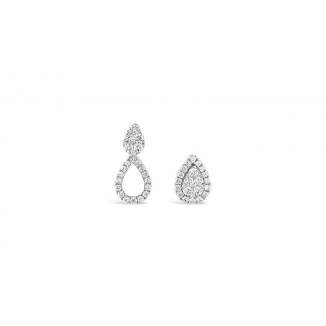 White Gold Round Cut Diamond Teardrop Earrings
