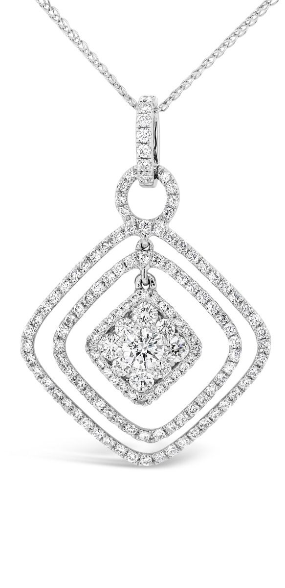 White Gold Round Cut Diamond Shape Pendant
