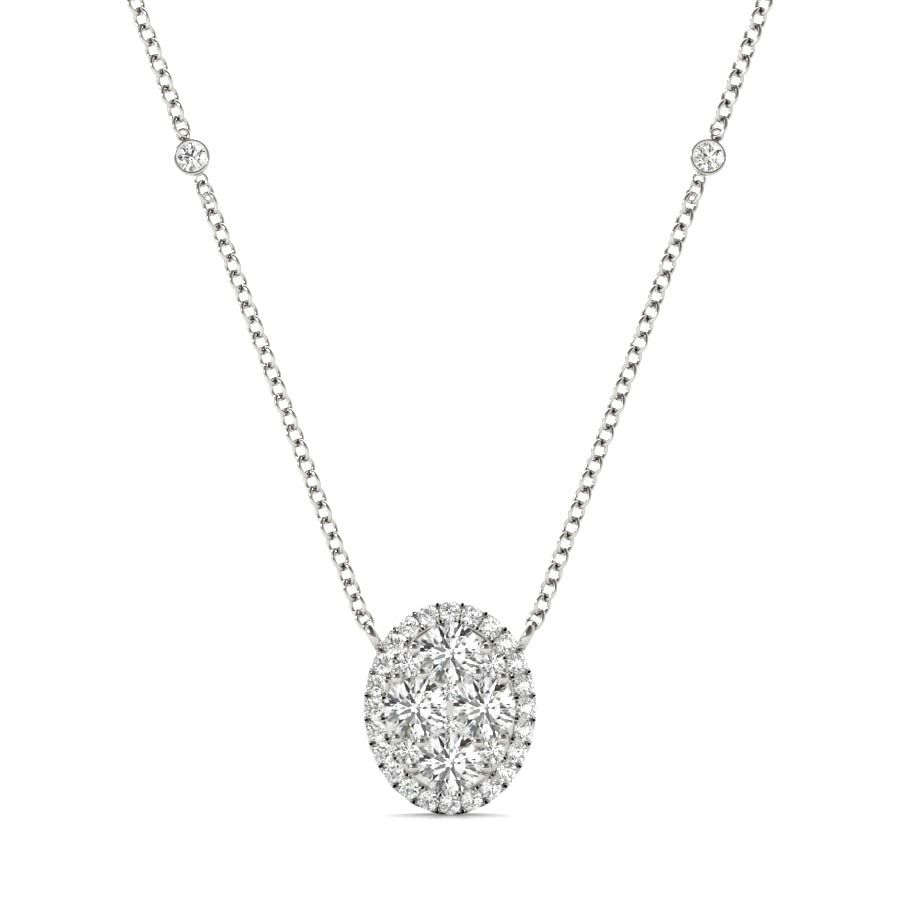 White Gold Round Cut Diamond Oval Pendant Necklace