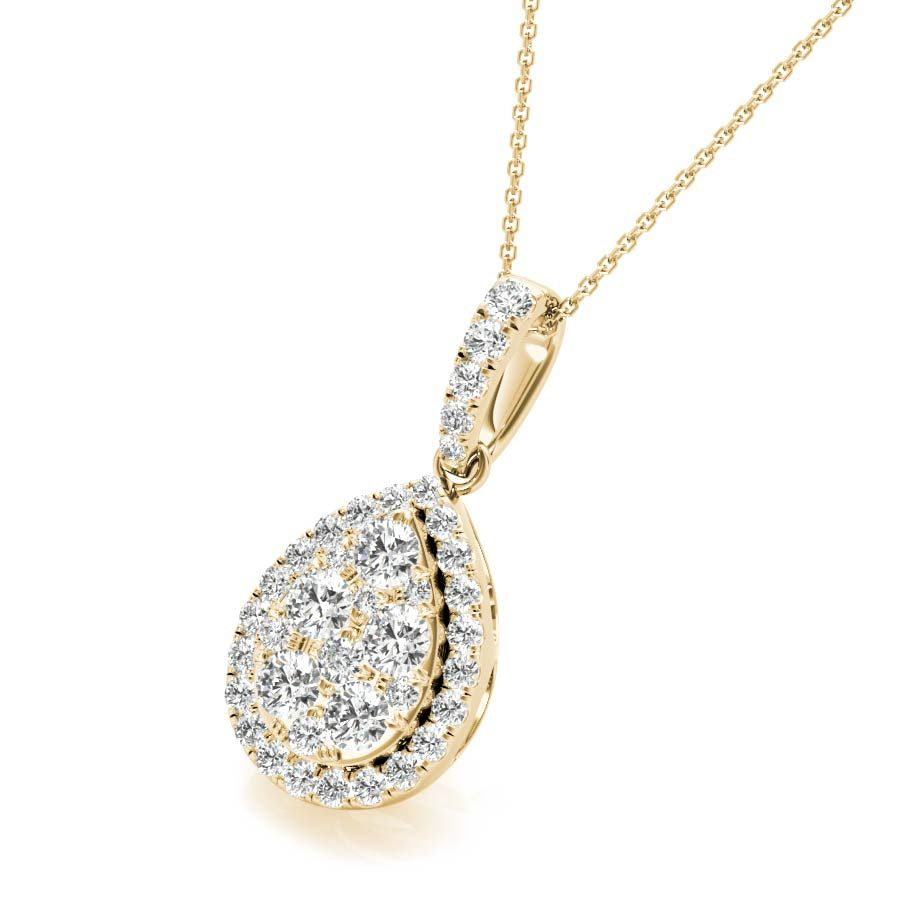 White Gold Round Cut Teardrop Necklace