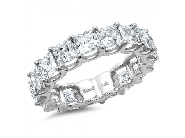 White Gold Princess Cut Diamond Eternity Band