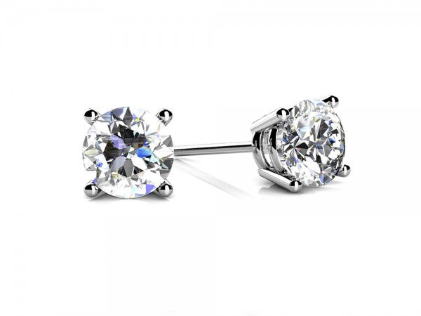 Round Cut Diamond Stud Earrings