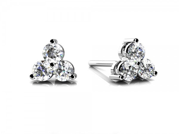 White Gold 3 Stone Diamond Earrings
