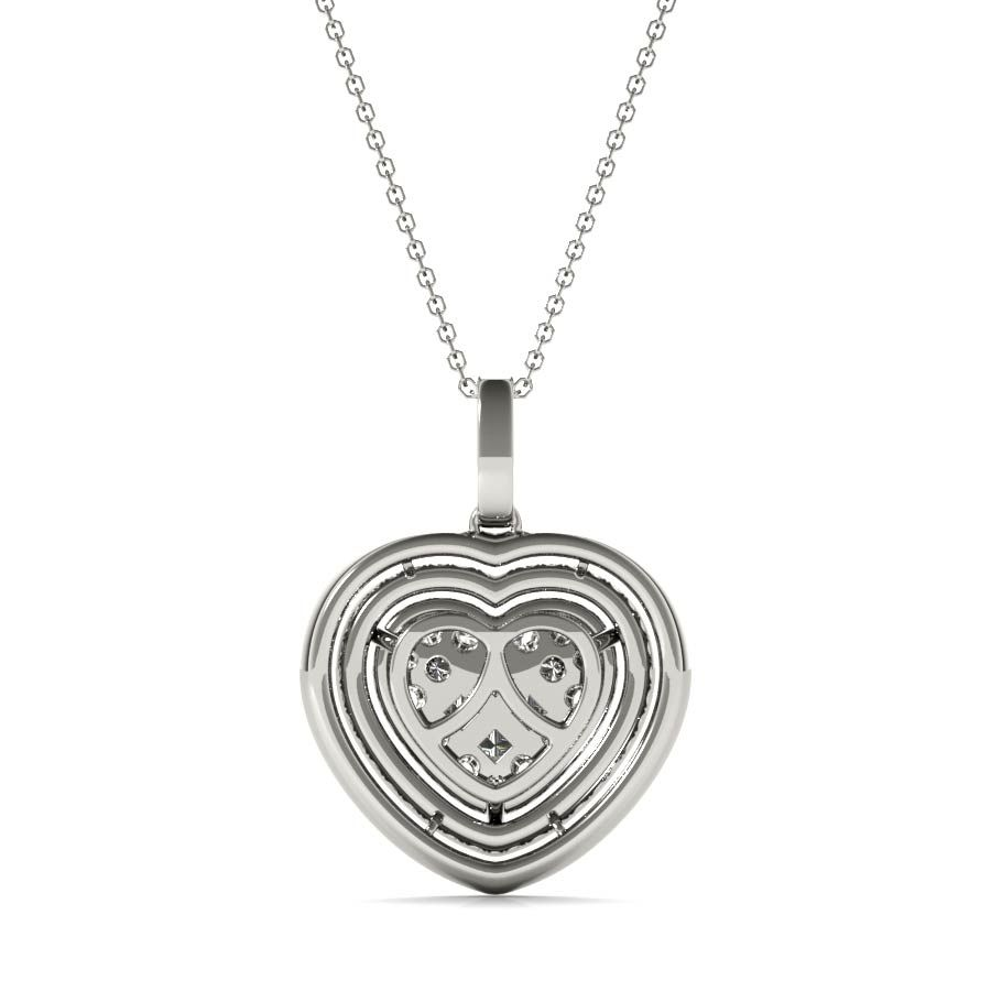 White Gold Round Cut Diamond Heart Necklace