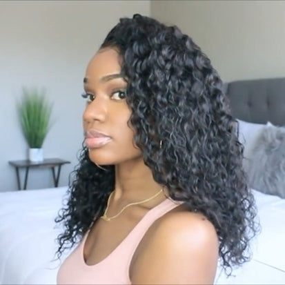 2019 NEW Basic Cap Lace Frontal Wigs Wet Wavy For Women Natural Black