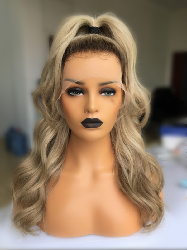 2019 New SPECIAL OFFER Celebrity the same Frontal Lace Gold Wig