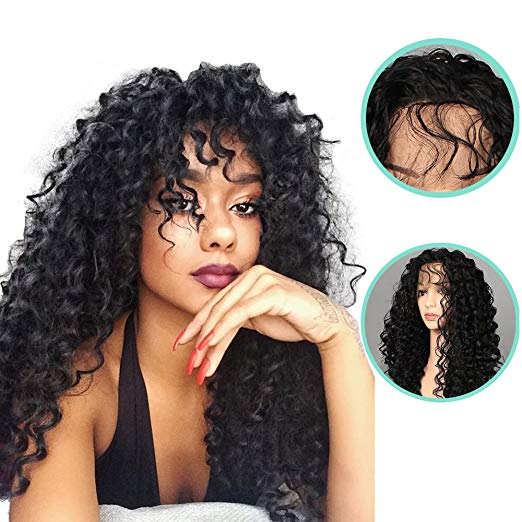 2019 New Wigs Afro Curly Long Narural Black Curly  Hair Synthetic Glueless Frontal Lace Wigs for Black Women