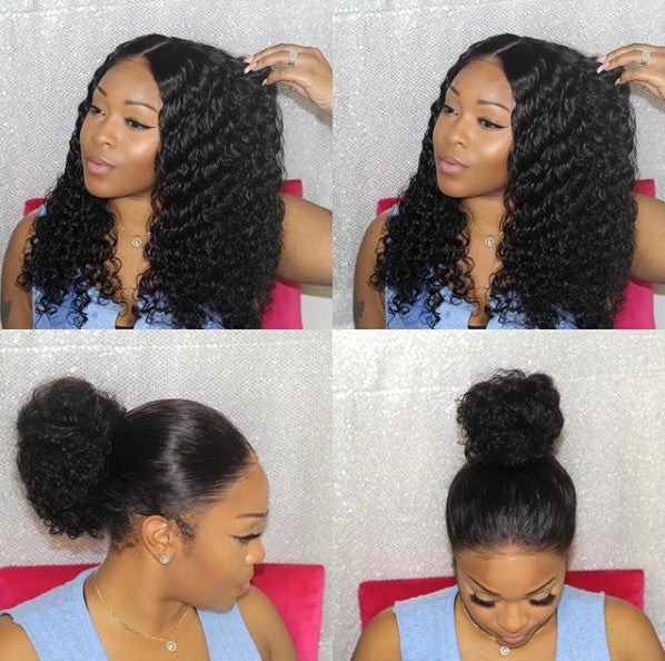 DEEP CURLY LACE FRONT WIG 22 INCH LONG WIG FOR BLACK WOMEN