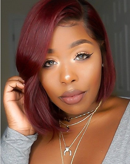 RED BOB Basic Cap Deep Part Lace WIG