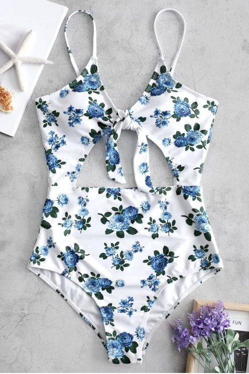 Elegance Cutout Front-Knot Floral One-piece Swimsuit