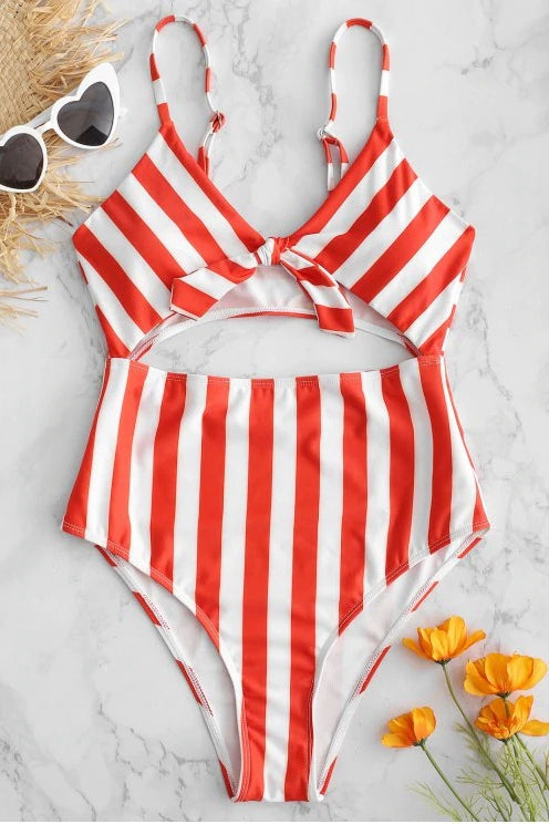 ROYAL ELEGANCE FRONT-KNOT ONE-PIECE SWIMSUIT