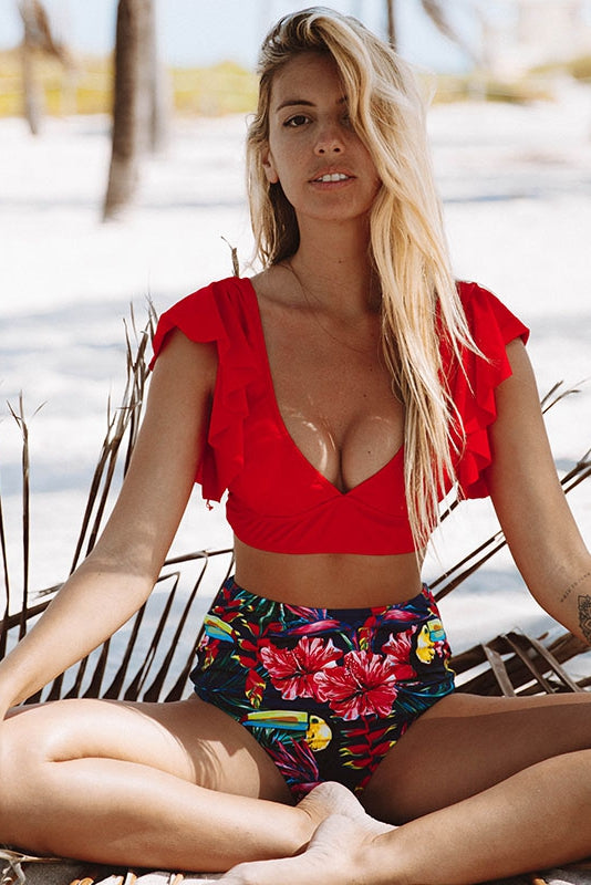 Hot Red Chic Ruffle High-Waisted Bikini Set