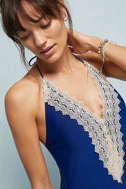 Classic Lace-Front One-Piece Swimsuit