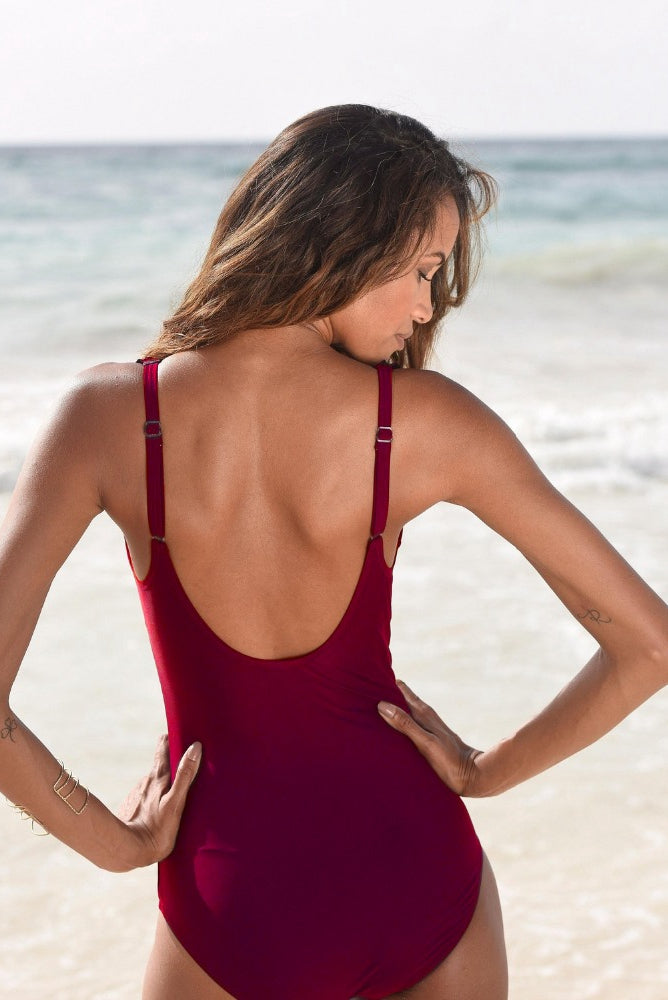 Vintage Red Wine Ruffle One Piece Swimsuit