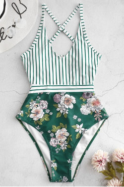 Vertical Stripes and Floral Print Contrast Color One-piece Swimsuit