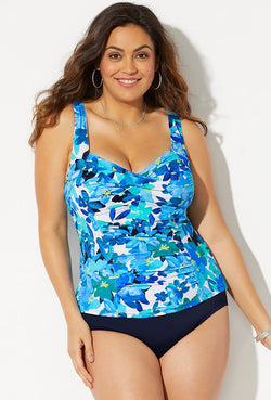 BELLFLOWER RUCHED TWIST FRONT TANKINI SET