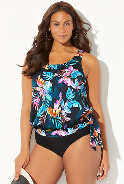 SIESTA KEY SIDE TIE BLOUSON TANKINI SET
