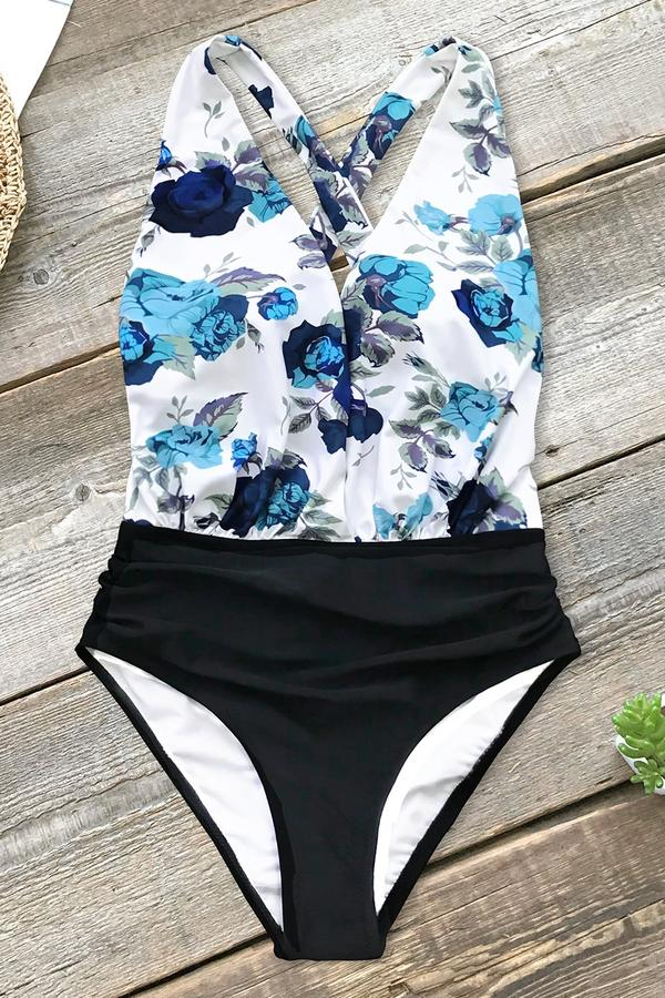 Blue Floral and Black Ruched One-Piece Swimsuit