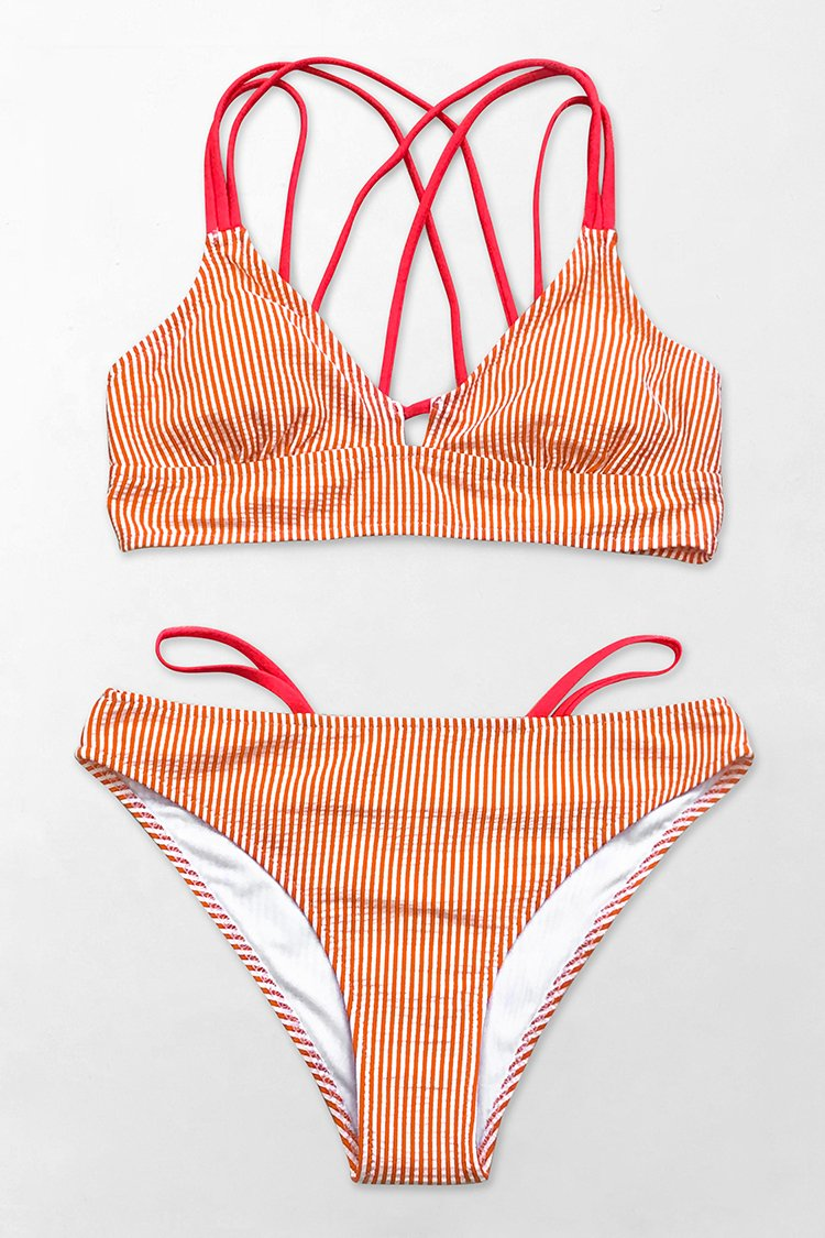 Orange And White Stripe Strappy Bikini