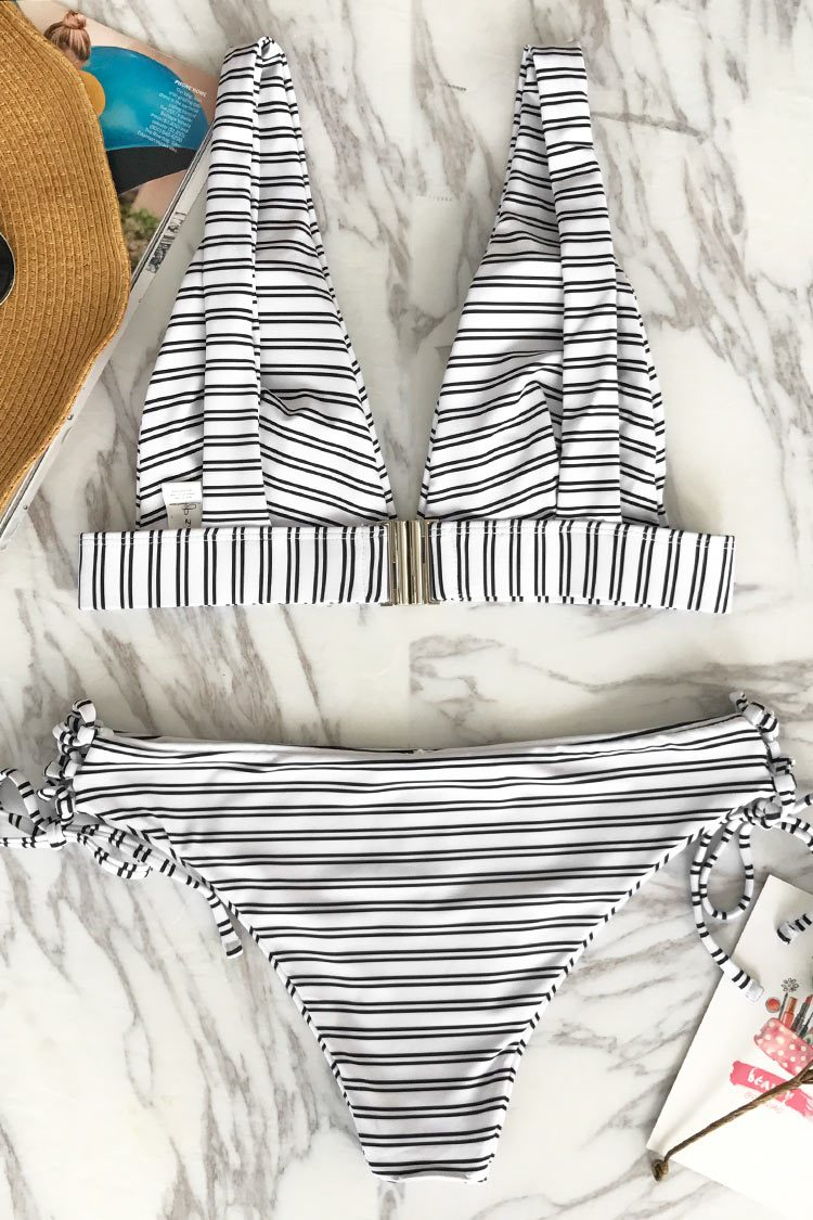 Out Of The Ordinary Stripe Bikini Set