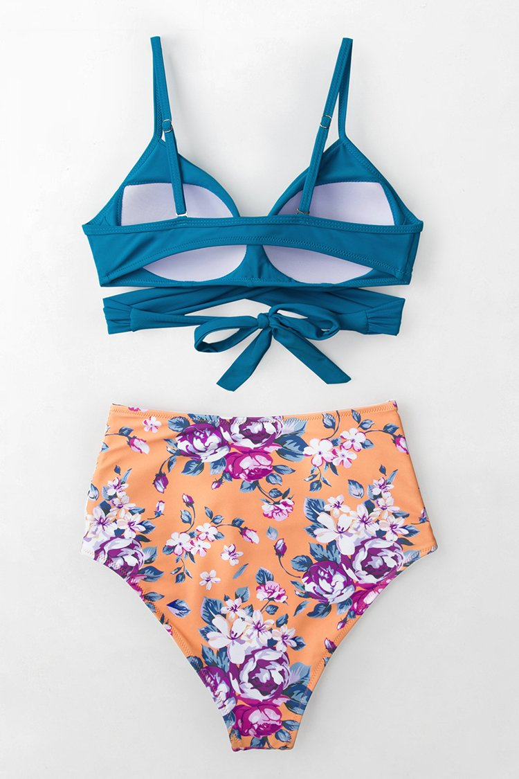 Summer Dream Blue Wrap And Floral High Waist Bikini