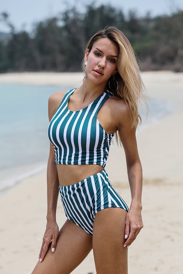 Tidal Wave Stripe Cross-Back Vintage Bikini Set