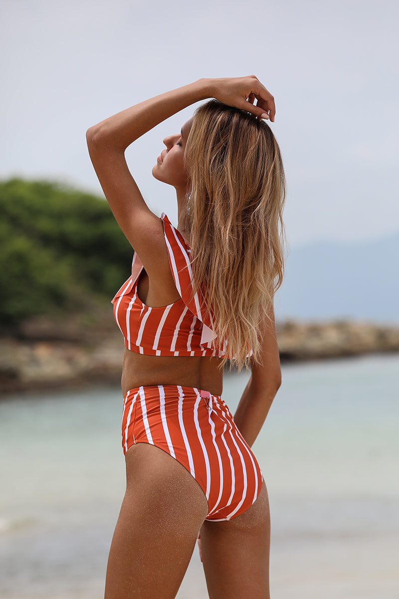 One Shoulder Ruffle Bikini Set