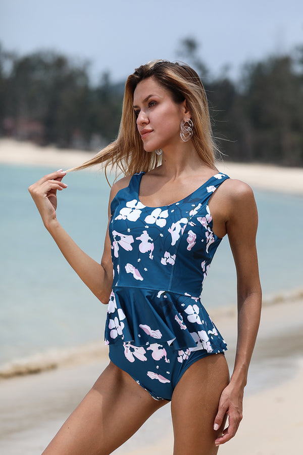 Blue Print Two-Piece Tankini Set
