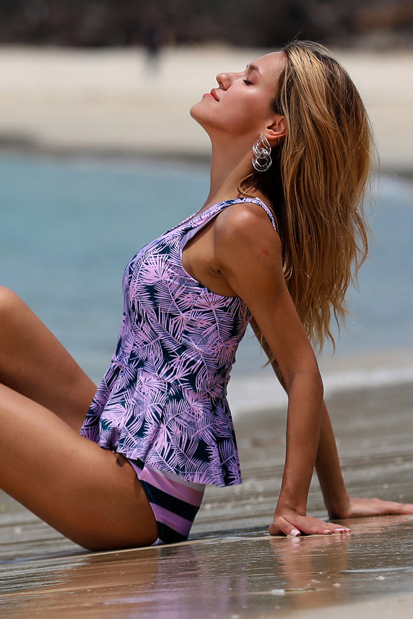 Purple Palm Print Two-Piece Tankini Set