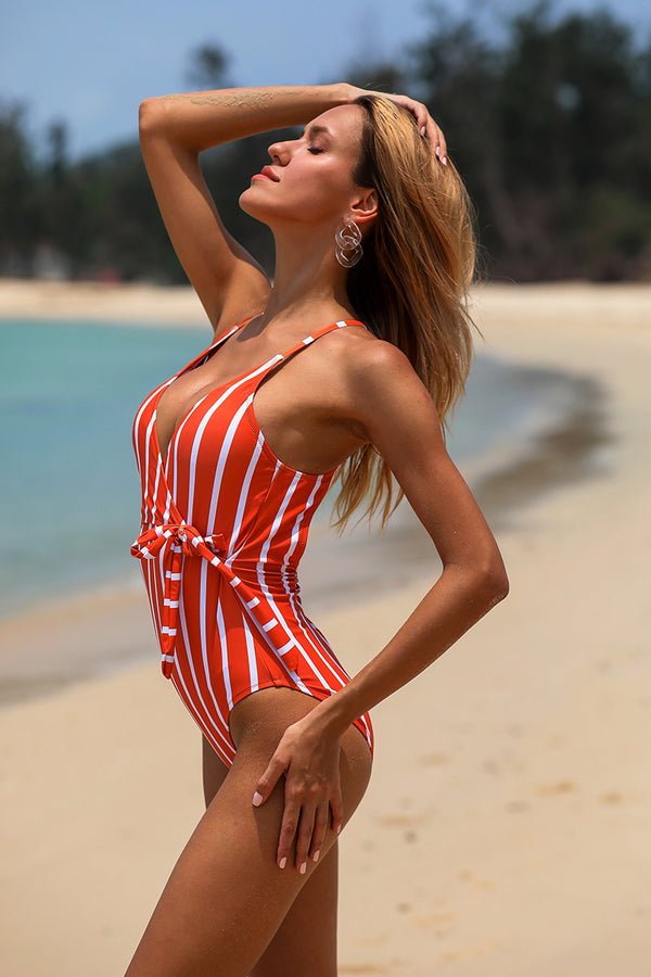 Royal Elegance Halter One-Piece Swimsuit