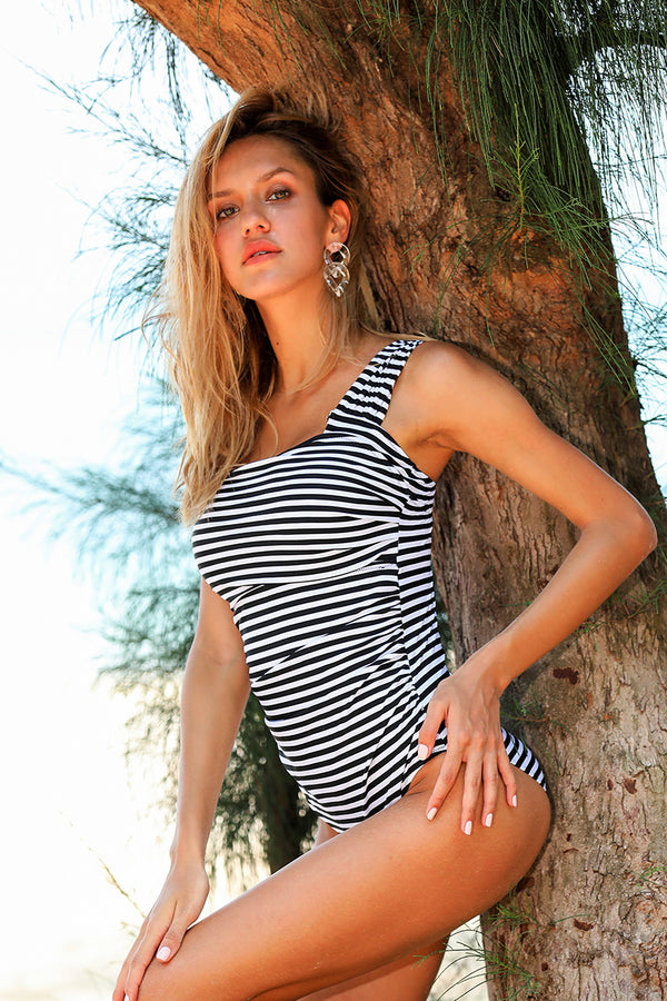 Stripe Off Shoulder One-Piece Swimsuit