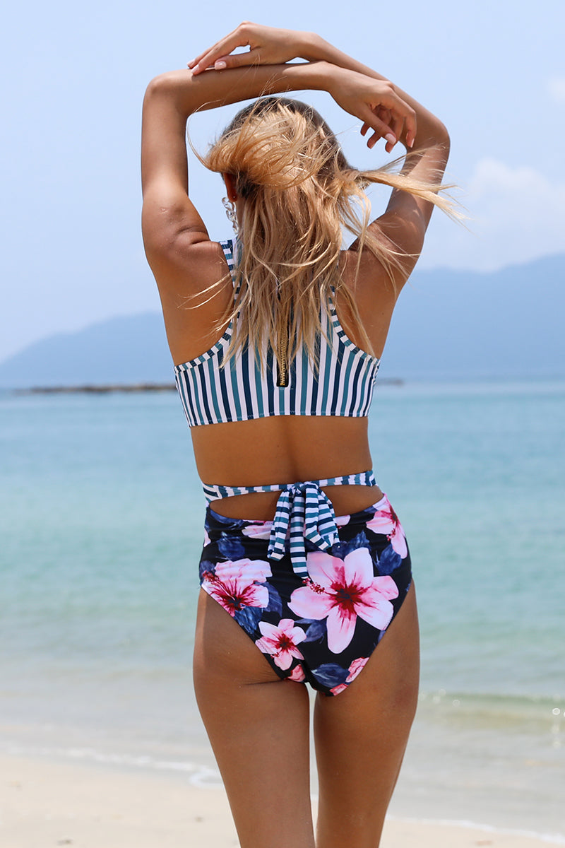 Stripe Orchid Floral One Piece Swimsuit